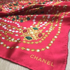Red Chanel bijoux silk scarf